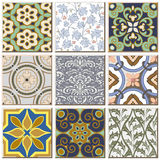 Vintage retro ceramic tile pattern set collection 043 Stock Image