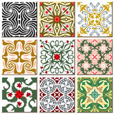 Vintage retro ceramic tile pattern set collection 010 Stock Photography