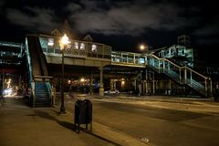 Vintage Chicago elevated CTA train subway station at night. Vintage retro Chicago elevated CTA train subway station at night Royalty Free Stock Image