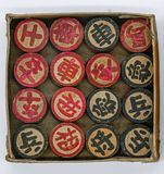 Vintage Retro Chinese Chess made of wood in paper box isolated o. N white background Stock Photos
