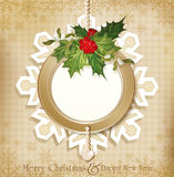 Vintage retro christmas background with holly Stock Photo