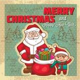Vintage retro christmas card Royalty Free Stock Photos