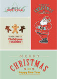 Vintage retro Christmas card set. Old-fashioned Santa Claus, gingerbread and old style lettering. Stock Photography