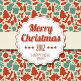 Vintage retro Christmas label. On seasonal pattern Stock Images