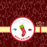Vintage retro christmas label winter socks Stock Images