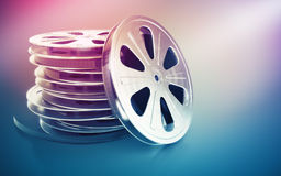 Vintage retro cinema film disk with tape. 3d rendered illustration Royalty Free Stock Image