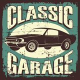 Vintage Retro Classic Car Service. Vector illustration with the image of an old classic car, design logos, posters, banners, signage vector illustration