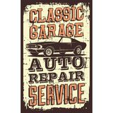 Vintage Retro Classic Car Service. Vector illustration with the image of an old classic car, design logos, posters, banners, signage stock illustration