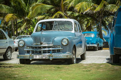 Vintage, retro classic cars parked near the ocean Stock Images