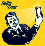 Vintage retro clipart: Selfie Fever! Man takes a selfie with smartphone camera Royalty Free Stock Image