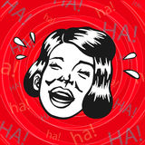 Vintage Retro Clipart: woman having fun and laughing Royalty Free Stock Photos