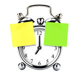 Vintage Retro Clock Alarm Post-it Postit Isolated stock photos