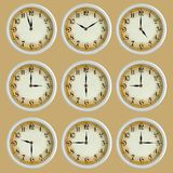 Vintage retro clock set isolated Stock Images