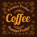 Vintage retro coffee badge on wooden panel Stock Photos