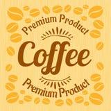 Vintage retro coffee badge on wooden panel Stock Image