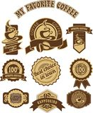 Vintage retro coffee badges. Set of vintage badges and tags on the theme of coffee in retro style is made in two colors Royalty Free Stock Photography
