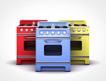 Vintage retro colorfull stoves. In white background Stock Image