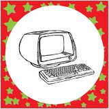 Vintage retro computer vector illustration sketch hand drawn   Stock Images