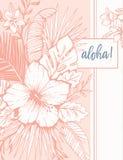 Vintage retro Coral Tropical Floral Exotic Foliage e hibiscus Aloha Greeting Card A lápis fundo da tinta do desenho ilustração do vetor