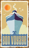 Vintage retro cruise ship Vector Design Stock Photography