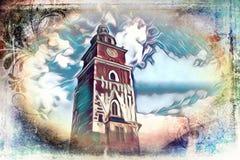 Vintage retro da ilustração velha da arte de Krakow da cidade Imagem de Stock