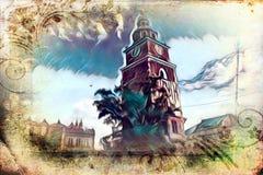 Vintage retro da ilustração velha da arte de Krakow da cidade Foto de Stock Royalty Free