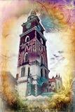 Vintage retro da ilustração velha da arte de Krakow da cidade Fotografia de Stock