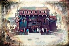 Vintage retro da ilustração velha da arte de Krakow da cidade Fotos de Stock Royalty Free