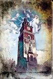 Vintage retro da ilustração velha da arte de Krakow da cidade Foto de Stock