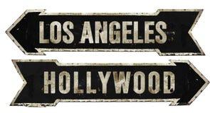 Vintage retro del metal de la flecha del Grunge de la placa de calle de Los Ángeles Hollywood fotografía de archivo libre de regalías
