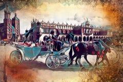 Vintage retro del viejo de la ciudad de Kraków ejemplo del arte Imagen de archivo libre de regalías