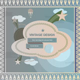 Vintage retro design frame and cover with sky, clouds and stars Royalty Free Stock Images