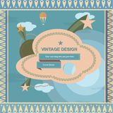 Vintage retro design frame and cover with sky, clouds and stars Royalty Free Stock Image