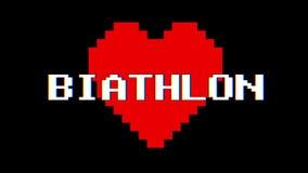 Vintage retro dinámico del lazo de la pantalla de interferencia de la interferencia del texto de la palabra del BIATHLON del cora ilustración del vector
