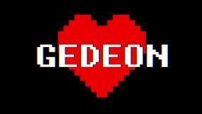 Vintage retro dinámico del lazo de la pantalla de interferencia de la interferencia del texto de la palabra del corazón GEDEON de libre illustration