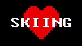 Vintage retro dinámico del lazo de la pantalla de interferencia de la interferencia del texto de la palabra del ESQUÍ del corazón stock de ilustración