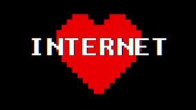 Vintage retro dinámico del lazo de la pantalla de interferencia de la interferencia del texto de la palabra de INTERNET del coraz stock de ilustración