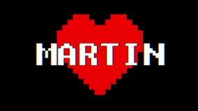 Vintage retro dinámico del lazo de la pantalla de interferencia de la interferencia del texto de la palabra de MARTIN del corazón stock de ilustración