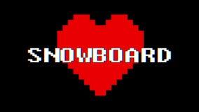 Vintage retro dinámico del lazo de la pantalla de interferencia de la interferencia del texto de la palabra de la SNOWBOARD del c stock de ilustración
