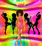 Vintage and retro disco dance scene with silouettes of our unique digital art disco queen. A colorful disco ball lights up the dance floor for this vintage and royalty free illustration