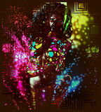 Vintage, retro, disco dancer girl with glitter lights. A Sexy, high energy image for entertainment, clubbing and night life themes. Our custom 3d digital art Stock Photography