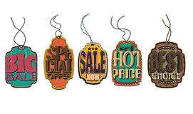 Vintage Retro Discount Vector Price Tag Set Stock Images