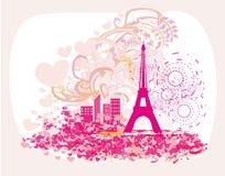 Vintage retro Eiffel tower abstract card. Vector Illustration Stock Photos