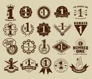 Vintage retro el número uno # sellos 1 y colección de las insignias Fotografía de archivo