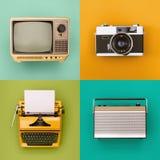 Vintage / retro electronics set. Set of vintage electronics for media use. Tv, radio, image, print royalty free stock images