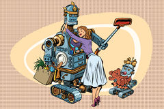 Vintage retro family, dad robot wife and child Royalty Free Stock Photos