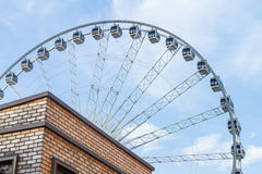 Vintage Retro Ferris Wheel on Blue Sky. Royalty Free Stock Images