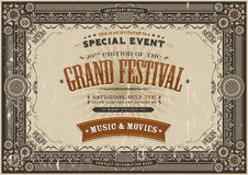 Vintage Retro Festival Poster Background. Illustration of a horizontal vintage festival poster background with floral shapes, frames, banners, grunge texture and Stock Photography