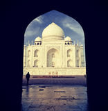 Vintage retro filtered picture of Taj Mahal, India. Royalty Free Stock Photos