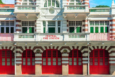Vintage retro fire station building Royalty Free Stock Images